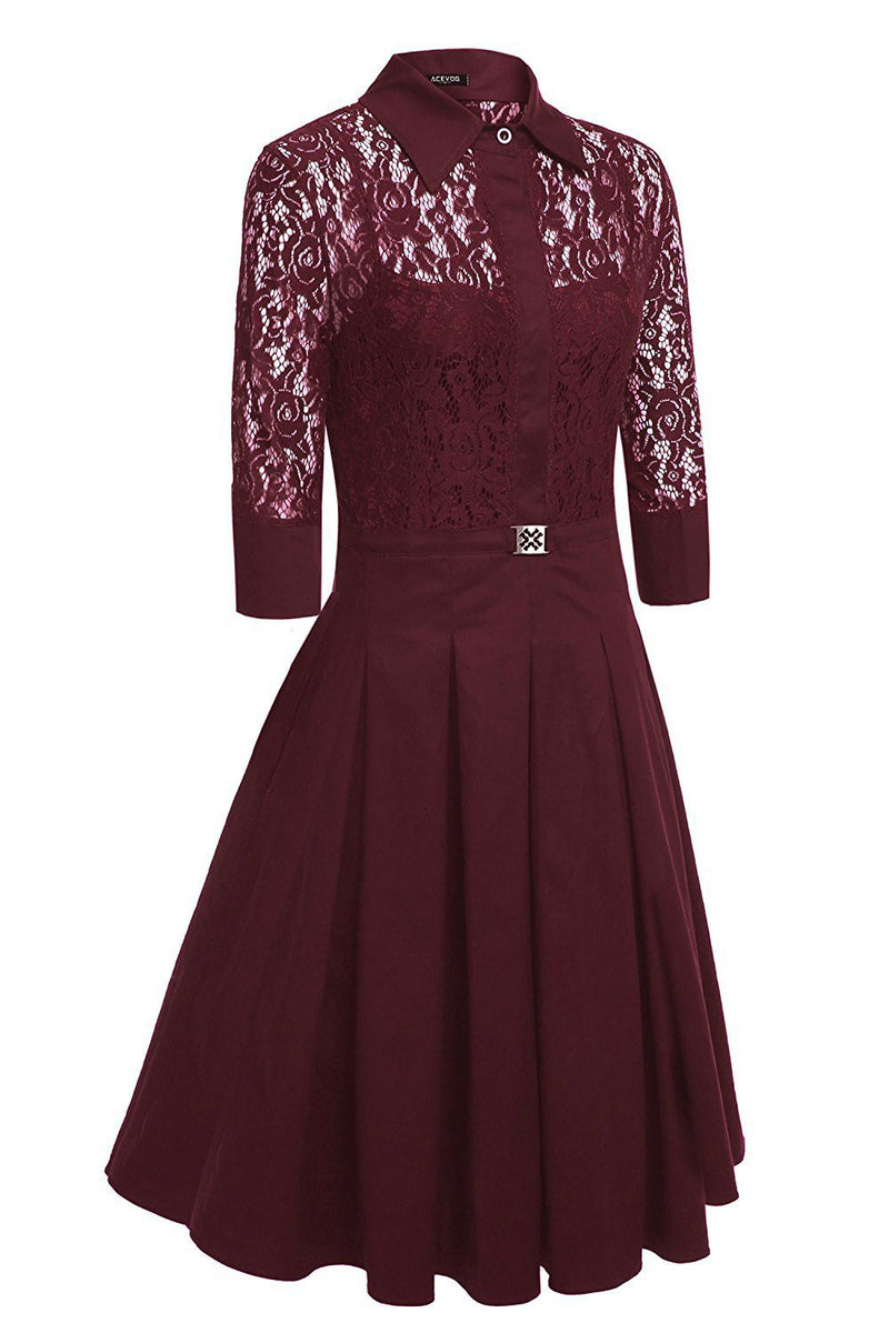 Lace Long Sleeves Solid Splicing Pleated Short Dress