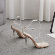 Summer PVC Square Toe High Heel Buckle Sandals