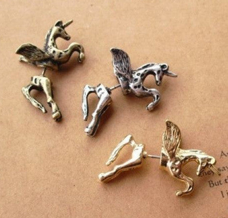 3D Unicorn Pegasus Through Single Earring