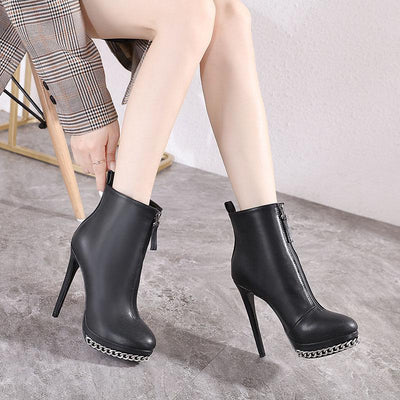 Black PU Platform Chain High Heel Ankle Boots