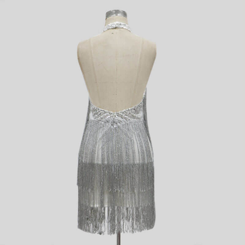 Silver Backless Fringe Short Dress