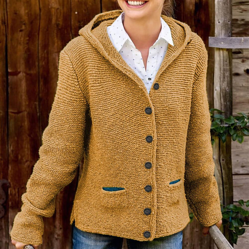 Hooded Pure Color Button Knit Cardigan