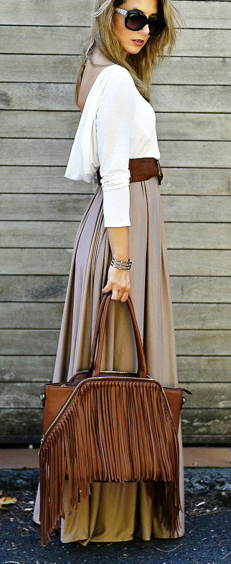 Splicing Long Sleeve Backless Scoop Pleated Long Dress