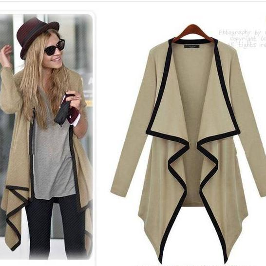 Lapel Long Sleeves Irregular Loose Long Outerwear - Meet Yours Fashion - 2
