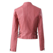 Lapel Stand Collar Zipper Slim Crop Jacket - Meet Yours Fashion - 4