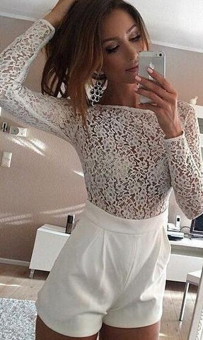 Lace Patchwork Long Sleeves Scoop Short Jumpsuit - Meet Yours Fashion - 1
