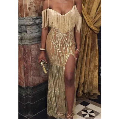 Tassels Spaghetti Straps V-neck Split Floor Length Party Dress