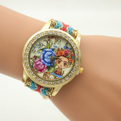 Flower Beauty Print Woven Strap Watch