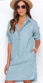 Side Split Turn Down Collar Cowboy Denim Dress - Meet Yours Fashion - 1