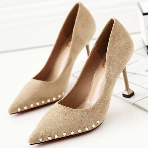 Rivets Pointed Tow Low Cut High Kitten Heel Party Prom Shoes