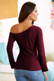 One Shoulder Slim Pure Color Long Sleeves Slim Blouse