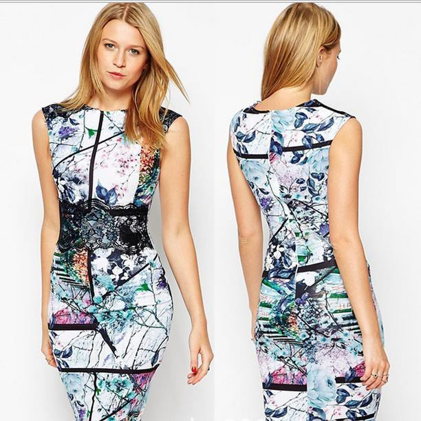 Sexy Digital Print Sleeveless Bodycon A-line Scoop Knee-length Dress - Meet Yours Fashion - 1