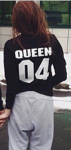 Print Scoop Pullover Long Sleeve Hoodie - Meet Yours Fashion - 1