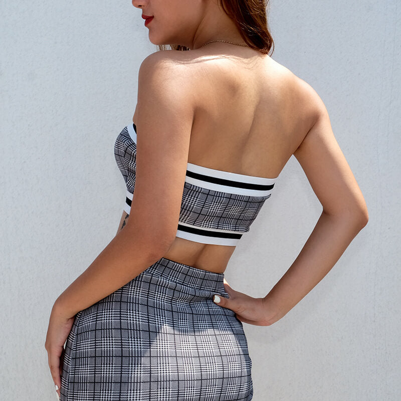 Hollow Out lattice Body-con Short Skirt Two Pieces Dress