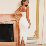 Spaghetti Straps Deep V-neck Backless Split Long Dress