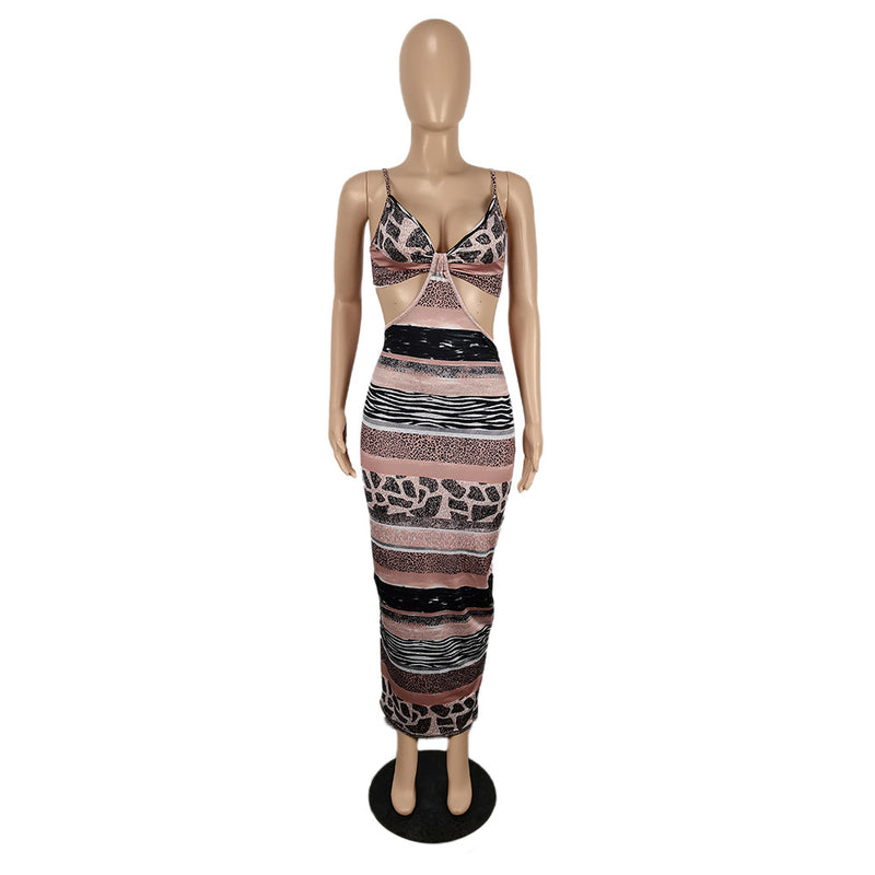 Free Shipping Sleeveless Blackless Print Party Dress
