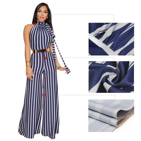 Bear Shoulder Striped High Neck Sleeveless Long Jumpsuit