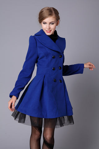 Double-Breasted Beam Waist Ruffles Women's Coat