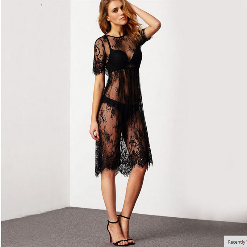 Free Shipping Perspective lace swimsuit blouse lace Beach Dress