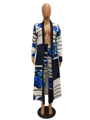 Print Long Sleeves Cardigan Slim Long Coat + Trousers Casual Two-piece Suit