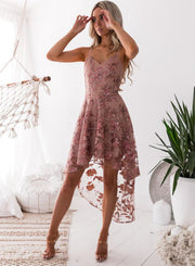 Embroidery Lace Stitching Irregular hem Party Dress