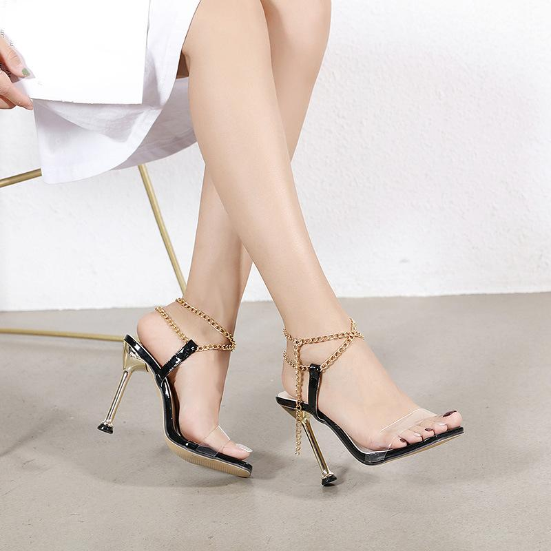 Super High Metal Heel Square Head Chain Sandals