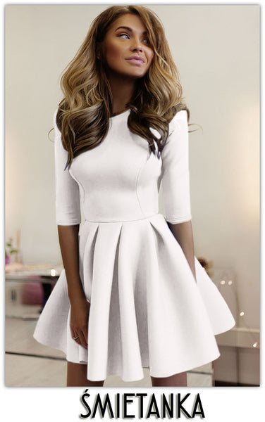 Fashion A-Line 1/2 Sleeve Pleated Short Dress