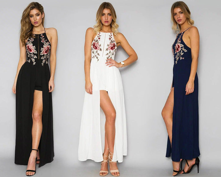 68c11f133d7a ... Floral Embroidered Halter Neck Maxi Dress Featuring Criss-Cross Open  Back ...
