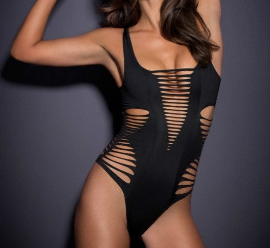 Black Hollow Out High Leg Scoop One Piece Swimwear
