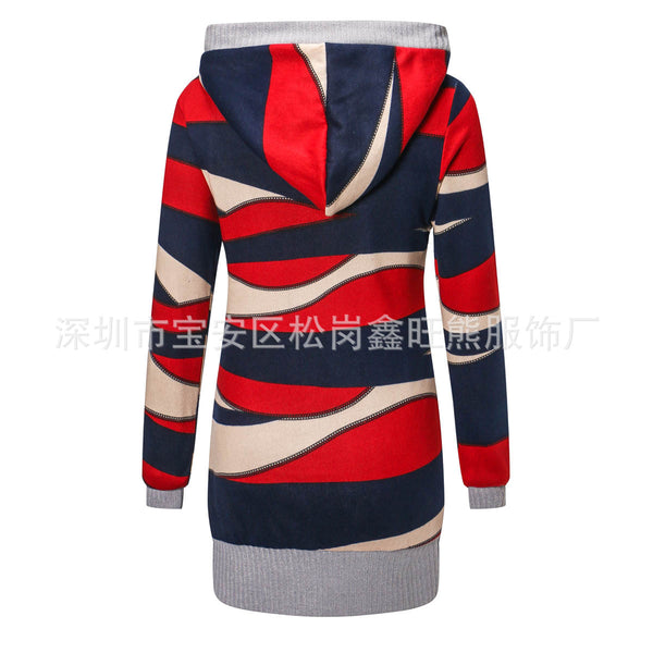 Hooded Cardigan Print Slim Long Sleeve Thick Sweater