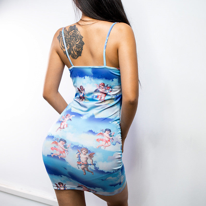 Sexy Spaghetti Straps Print Bodycon short Dress