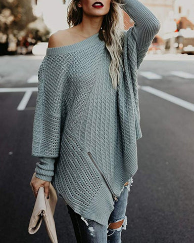 Off Shoulder Zipper Loose Irregular Pur Color Sweater