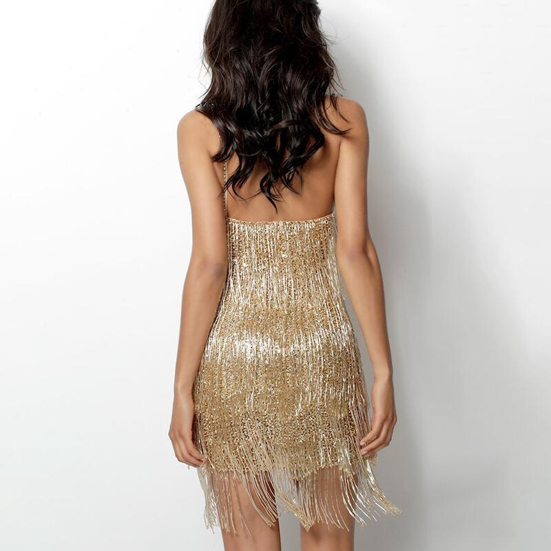 One Shoulder Fringed Party Dress