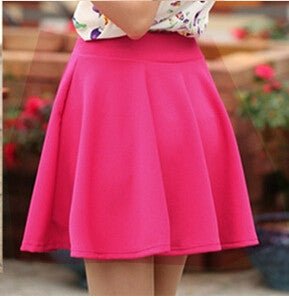 Candy Color Stretch Skater Flared Pleated Mini Skirt - MeetYoursFashion - 2