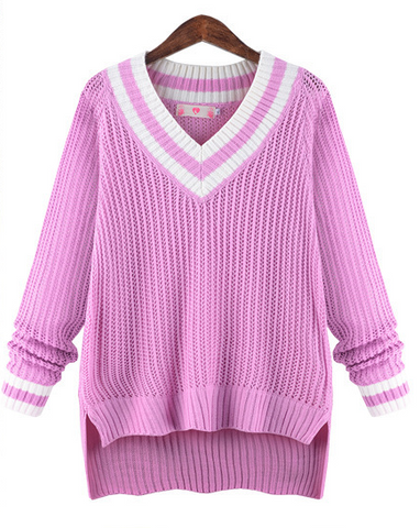 Peach Collar Sexy Knit Pullover Solid Color Sweater - Meet Yours Fashion - 1