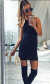 Off Shoulder Sleeveless Bodycon Sheath Dress - Meet Yours Fashion - 2