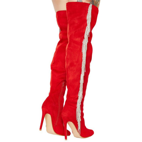 Suede Fringe Rhinestone Point Toe High Heel Over Knee Boots
