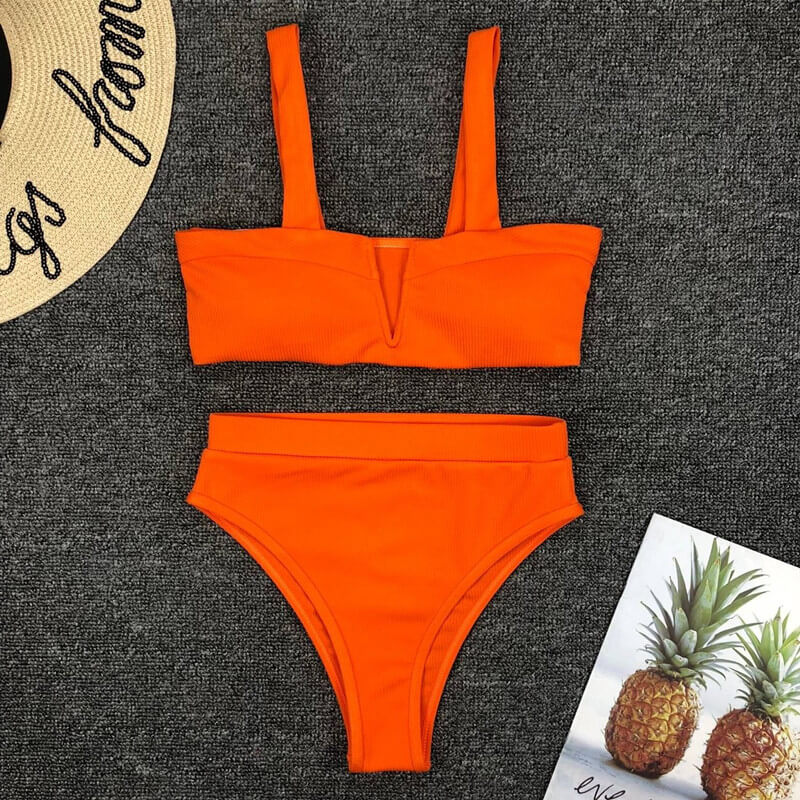 Bright Color Padded Top High Rise Thong Bottom Bikinis