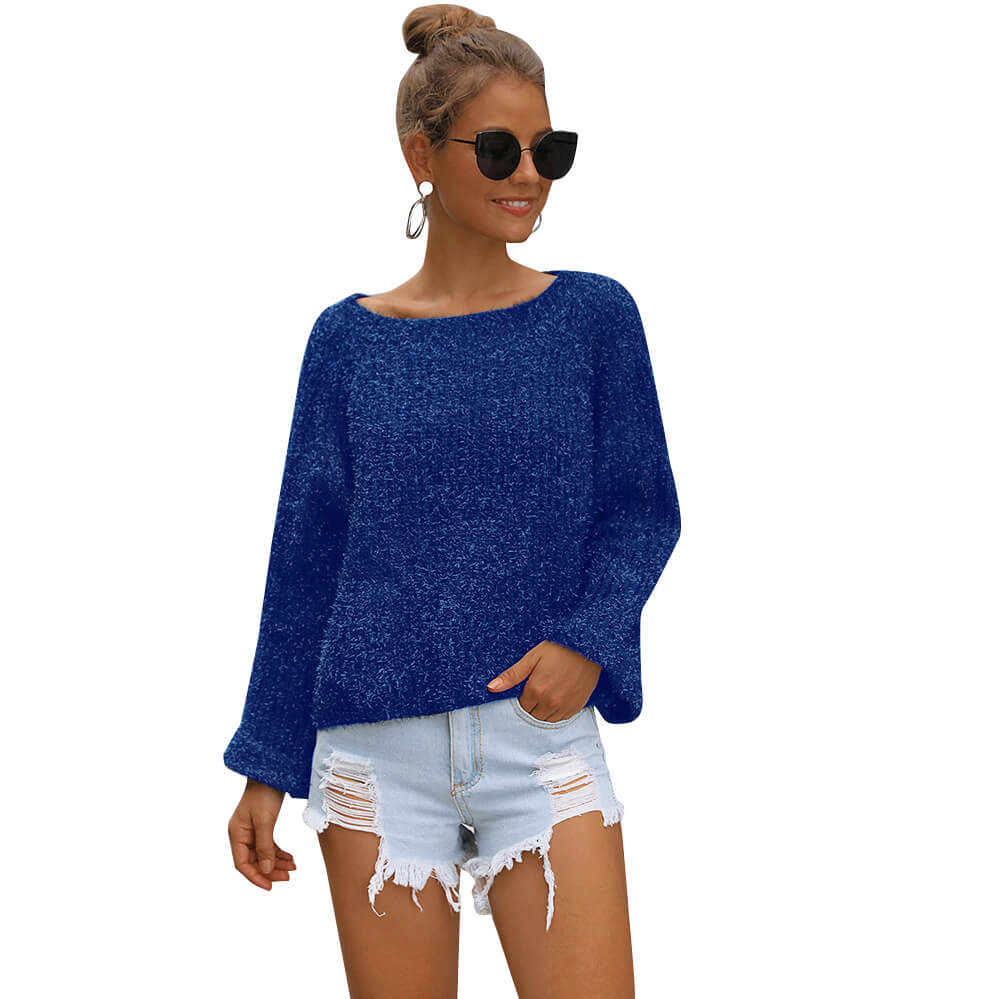 Loose Round Neck Long Sleeve Women Sweater