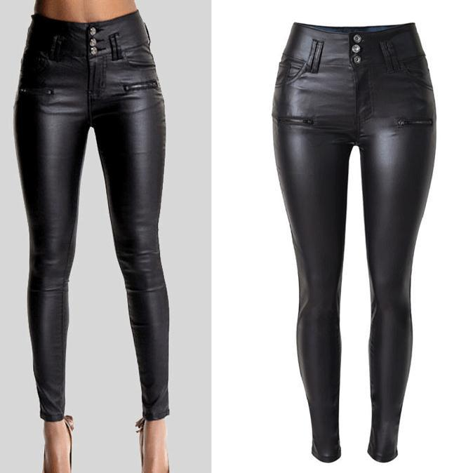 PU Leather High Waist Slim Elastic Pencil Pants - Meet Yours Fashion - 1
