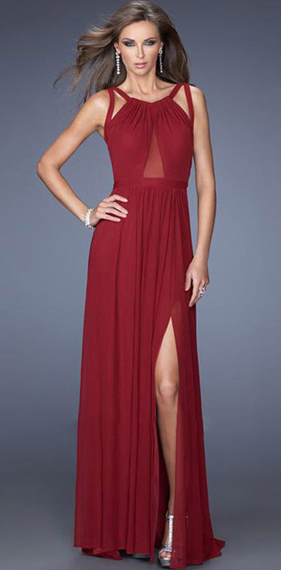 Back Cross Scoop Sleeveless Split Floor-length Solid Club Dress - Meet Yours Fashion - 2