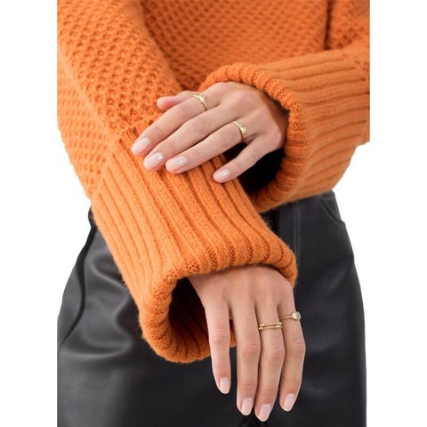 Oversized Turtleneck Orange Crochet Sweater