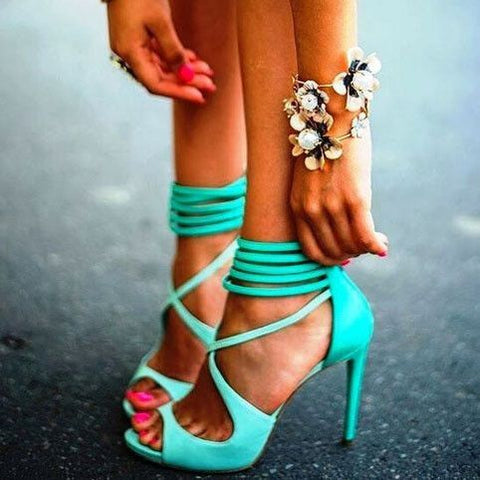Candy Color Straps Peep Toe Stiletto High Heel Sandals
