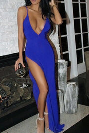 Spaghetti Strap Deep V-neck Sleeveless Solid Split Long Dress