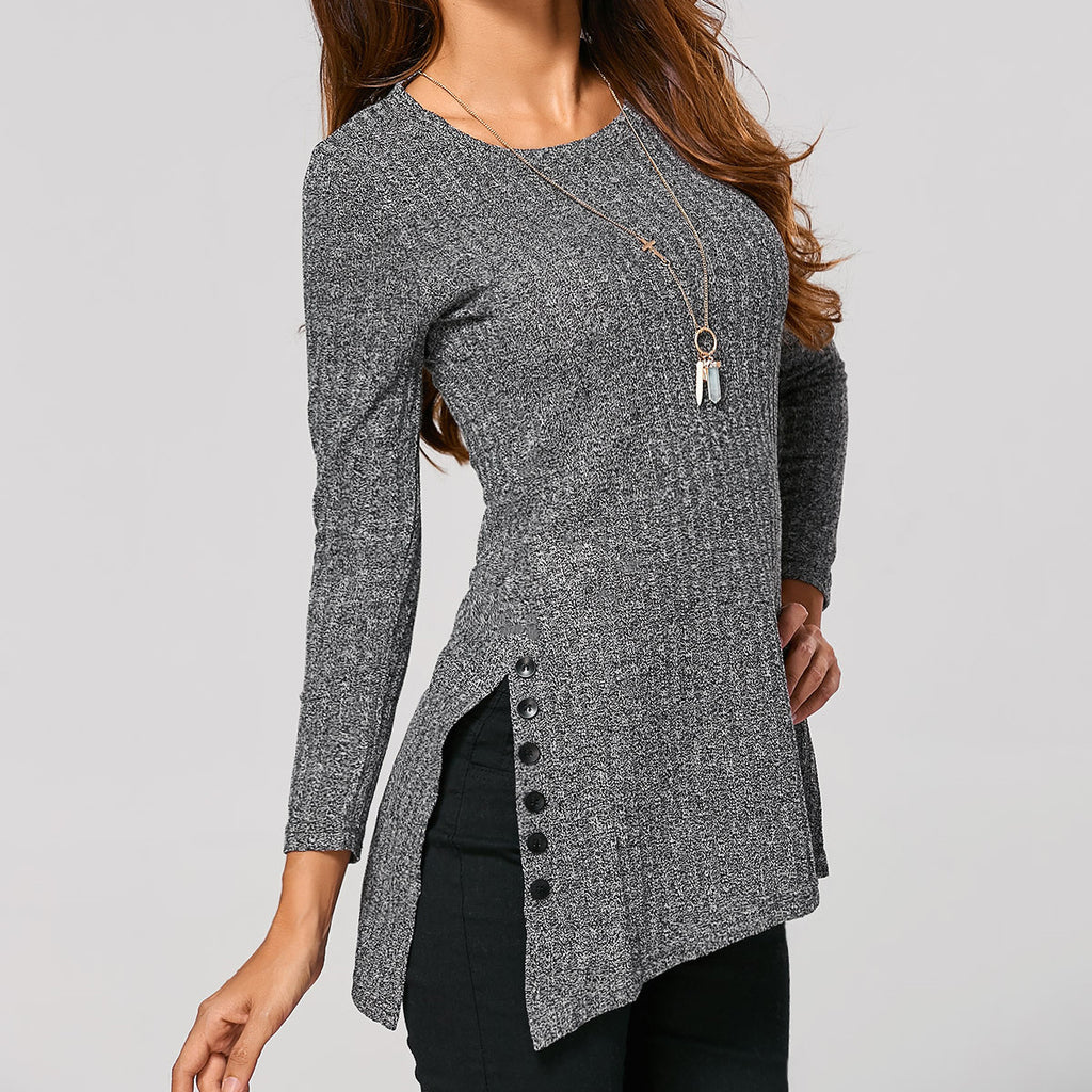Button Split Irregular Long Sleeves Pullover Sweater