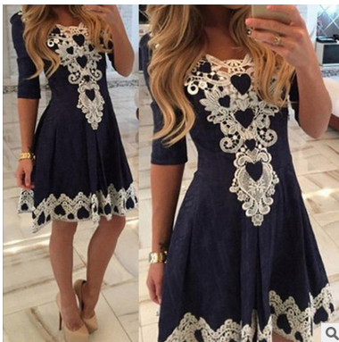 Sexy Lace Flowered Splicing Short Sleeve V-neck Dress - Meet Yours Fashion - 1