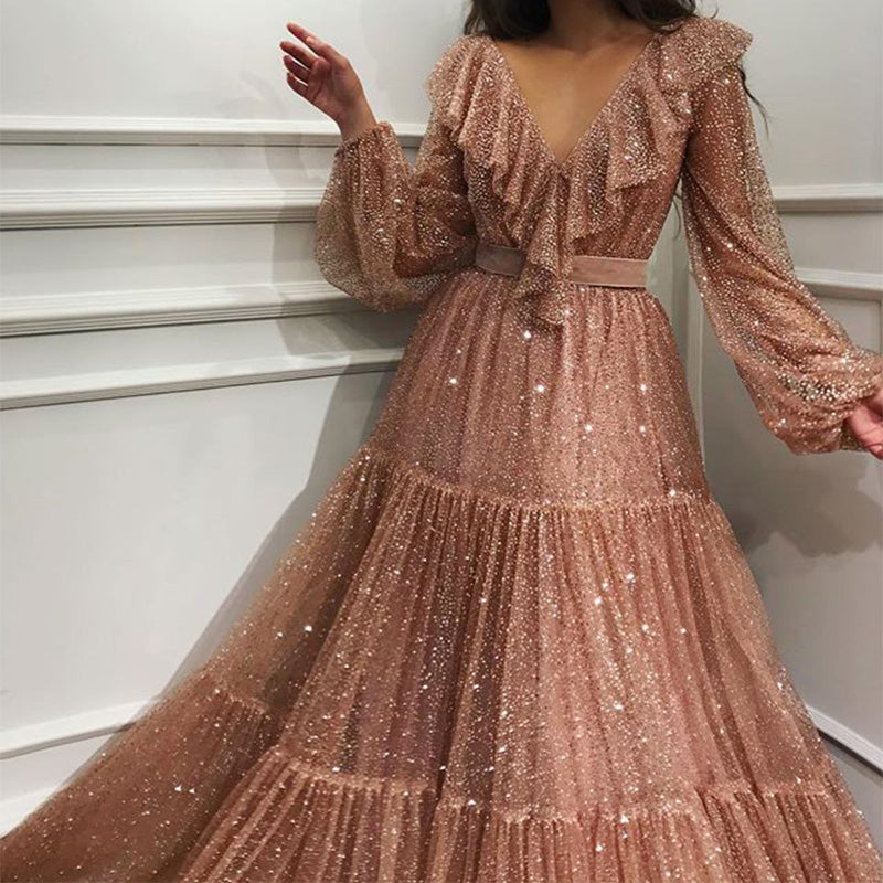 Pink Sequin Long Sleeve Flapper Maxi Tuxedo Dress