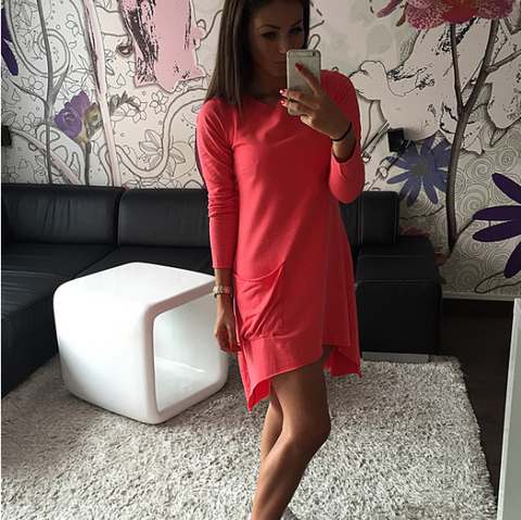 Irregular Pure Color Scoop Long Sleeves Short Dress
