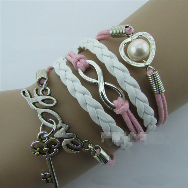 LOVE Hearts Key pearl Hand-made Leather Cord Bracelet