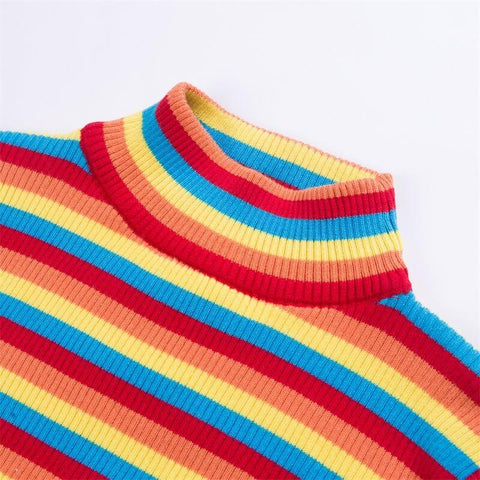 Turtleneck Rainbow Cropped Knit Pullover Sweater